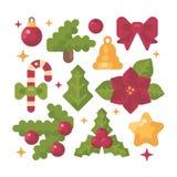 Ensemble d'illustration plate d'articles de Noël lumière de vacances de guirlande de décorations colorée par ampoules de fond all Image libre de droits
