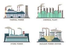 Ensemble d'illustration plate industrielle de vecteur de différents types de centrales Conception de faire l'énergie et la pollut illustration de vecteur