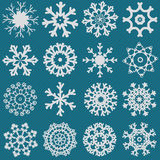 Ensemble d'illustration réglée de divers flocon de neige blanc Photographie stock