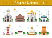 Ensemble d'illustration religieuse de vecteur de bâtiments illustration stock