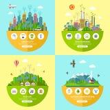 Ensemble d'illustrations d'écologie de vecteur dans le style plat illustration stock