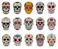 Ensemble d'illustrations de crânes de sucre Jour mort Dia de Los Muertos Image stock