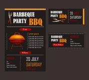 Ensemble d'illustrations de vecteur d'un calibre de menu de BBQ, carte d'invitation sur un barbecue, chèque-cadeaux Images libres de droits