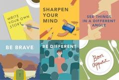 Ensemble d'illustrations explorant le concept des valeurs humaines illustration de vecteur