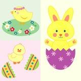 Ensemble d'illustrations mignonnes de Pâques illustration libre de droits