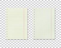Ensemble d'image de vecteur de à carreaux et ligne feuilles de papier sur le fond transparent Feuilles réalistes d'un carnet Couc illustration de vecteur