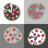 Ensemble d'image de vecteur de pizza Aliments de préparation rapide La tranche de la pizza Ico de vecteur illustration libre de droits