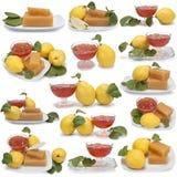 Ensemble d'images des desserts de coing Photographie stock libre de droits