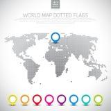 Ensemble d'indicateurs de la carte 3D avec la carte pointillée du monde, Photographie stock