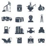 Ensemble d'industrie pétrolière grise d'icônes de pétrole et de gaz Photographie stock