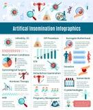 Ensemble d'Infographic d'insémination artificielle Images stock