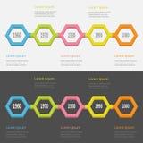 Ensemble d'Infographic de chronologie de cinq étapes Ligne segment colorée du polygone 3D descripteur Conception plate Fond blanc Image libre de droits