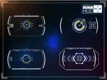Ensemble d'infographics bleu futuriste en tant qu'affichage à lecture tête haute Montrez les éléments de navigation pour le Web e illustration stock