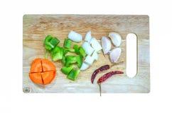 Ensemble d'ingrédient de carotte, poivron doux, paprika, capcicum, dessus Photos stock