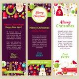 Ensemble d'insecte de calibre d'invitation de partie de vecteur de Joyeux Noël Images stock