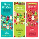 Ensemble d'insecte de calibre d'invitation de vecteur de vacances de Noël d'hiver Photos stock