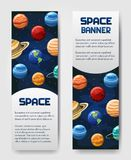 Ensemble d'insecte de 2 vecteurs, bannière, brouchure avec des planètes Univers, galaxie, label cosmique de style illustration de vecteur