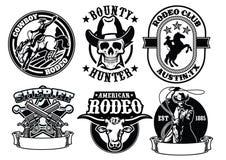 Ensemble d'insigne de cowboy illustration de vecteur