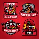 Ensemble d'insigne de département de sapeur-pompier illustration de vecteur