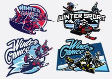 Ensemble d'insigne de jeux de sport d'hiver Photos libres de droits