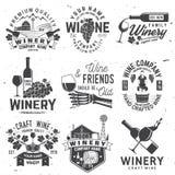 Ensemble d'insigne, de signe ou de label de société de winer Illustration de vecteur illustration de vecteur