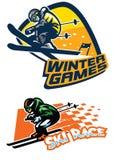 Ensemble d'insigne de sport de ski Photo libre de droits