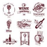 Ensemble d'insigne de vintage de vin illustration libre de droits