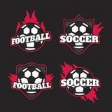 Ensemble d'insigne Logo Design Templates du football du football Équipe de sport Images libres de droits