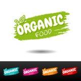 Ensemble d'insignes d'aliment biologique Images libres de droits