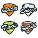 Ensemble d'insignes de base-ball, de tennis, de football, de basket-ball et de football Illustration de Vecteur