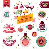 Ensemble d'insignes de carnaval de vintage et d'autres éléments Illustration de Vecteur