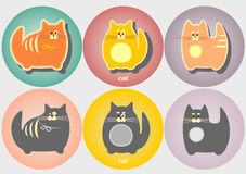 Ensemble d'insignes de chats de bande dessinée Style plat géométrique moderne simple Photographie stock
