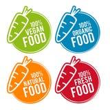 Ensemble d'insignes de nourriture d'Eco Nourriture de Vegan, organique, naturelle et fraîche Images libres de droits