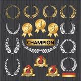 Ensemble d'insignes de récompense, icône de décoration de récompense Images libres de droits