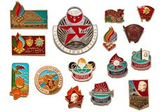 Ensemble d'insignes de vintage d'Union Soviétique Image stock