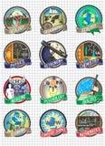 Ensemble d'insignes et de labels colorés de vecteur Disciplines de la Science et d'école Image stock