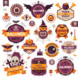 Ensemble d'insignes et de labels heureux de Halloween de vintage Image libre de droits