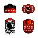 Ensemble d'insignes d'exploration d'espace Vol aux autocollants de Mars illustration de vecteur