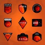 Ensemble d'insignes d'exploration d'espace Vol aux autocollants de Mars illustration libre de droits