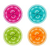 Ensemble d'insignes gratuits d'allergène Écrou gratuit Signes tirés par la main de vecteur Peut être employé pour la conception d Image libre de droits