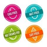 Ensemble d'insignes gratuits d'allergène Oeuf gratuit, écrou gratuit, aucune graisse de transport, soja gratuit Signes tirés par  Images stock