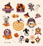 Ensemble d'insignes heureux de Halloween de rétro vintage, autocollants, labels Éléments de conception pour la carte de voeux ou  Images stock