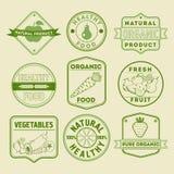 Ensemble d'insignes sains de nourriture Image stock