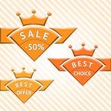 Ensemble d'insignes : vente, le meilleur choix, la meilleure offre Photo libre de droits