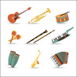 Ensemble d'instruments de musique Conception plate de style Images stock