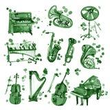 Ensemble d'instruments de musique de vert d'aquarelle illustration de vecteur