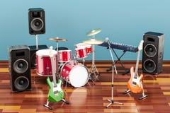Ensemble d'instruments de musique et d'équipement différents dans la chambre Photos libres de droits