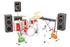 Ensemble d'instruments de musique et d'équipement différents, rendu 3D illustration stock