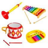Ensemble d'instruments de musique de jouet du ` s d'enfants, d'isolement sur le fond blanc illustration stock