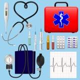 Ensemble d'instruments médicaux, d'instruments et de préparations d'une cardiologie de Medicine de cardiologue Objets détaillés r Illustration Libre de Droits